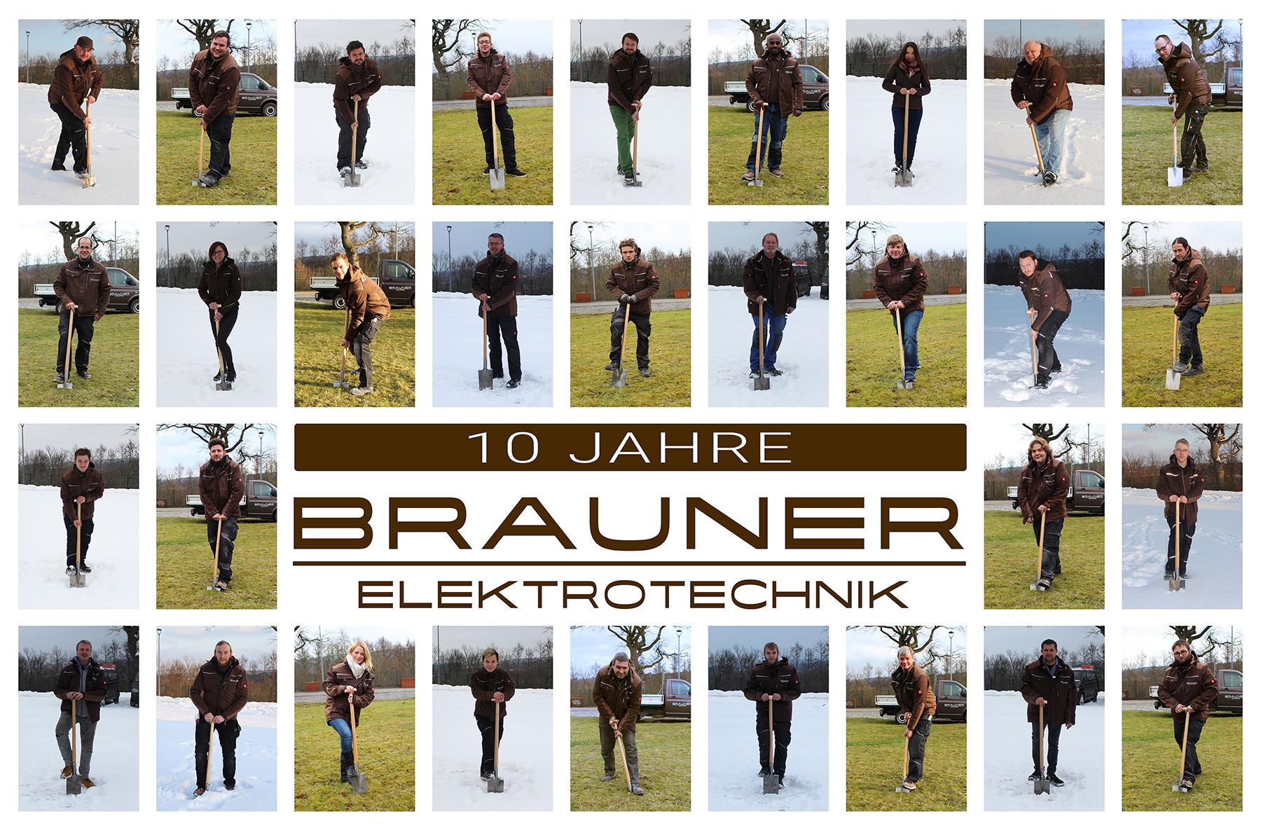Teamfoto Brauner Elektrotechnik - Spatenstich neues Buerogebaeude